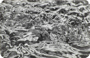 Realistic black and white pencil drawing of water