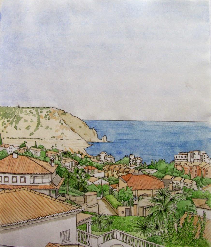 Praia da Luz watercolour painting
