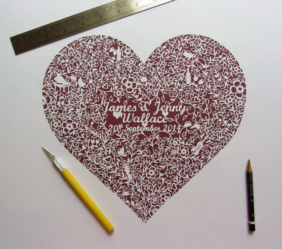 Paper cut wedding heart