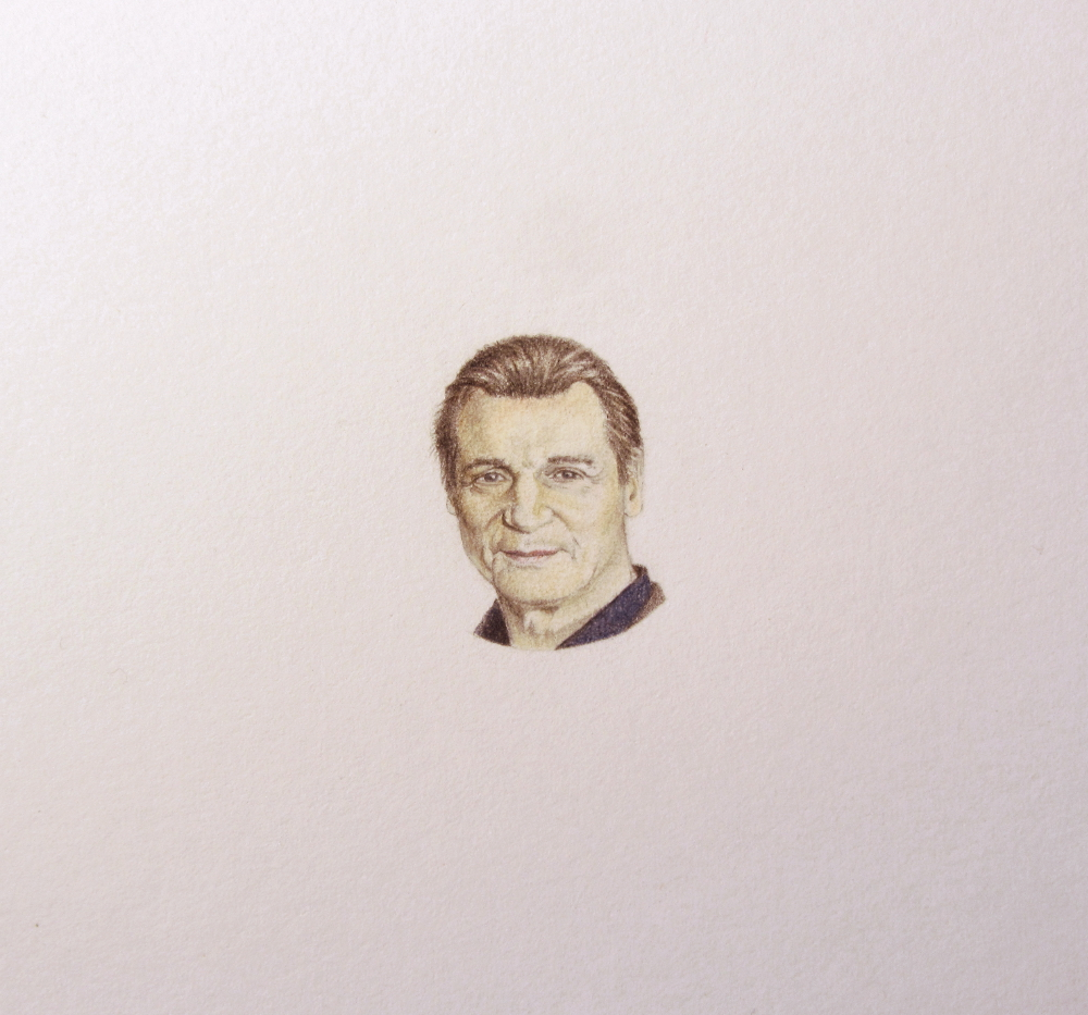 Coloured pencil drawing of Liam Neeson