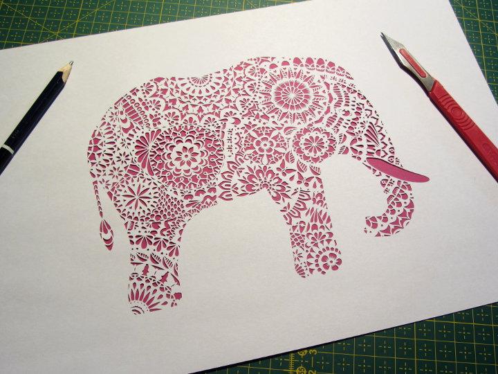 paper cut elephant