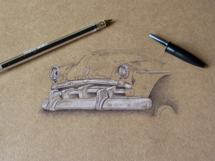 biro drawing of a rusty car