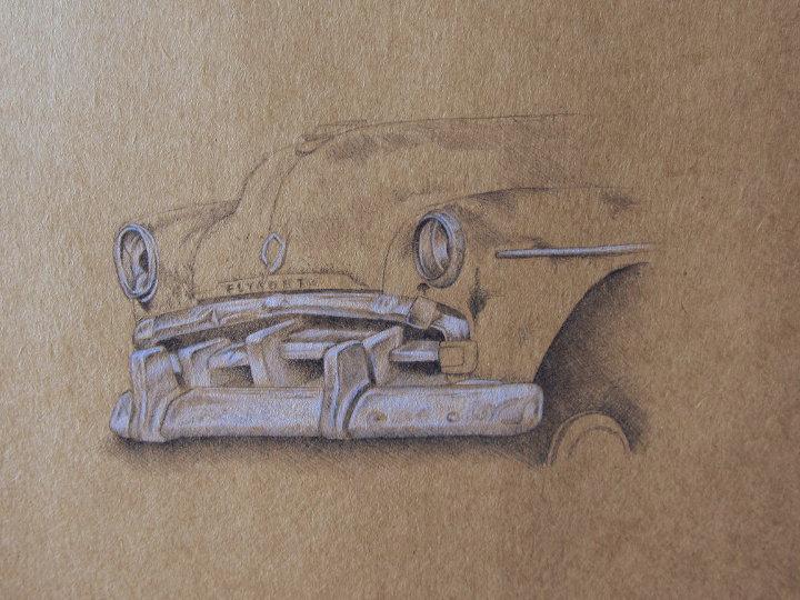biro drawing of a rusty car