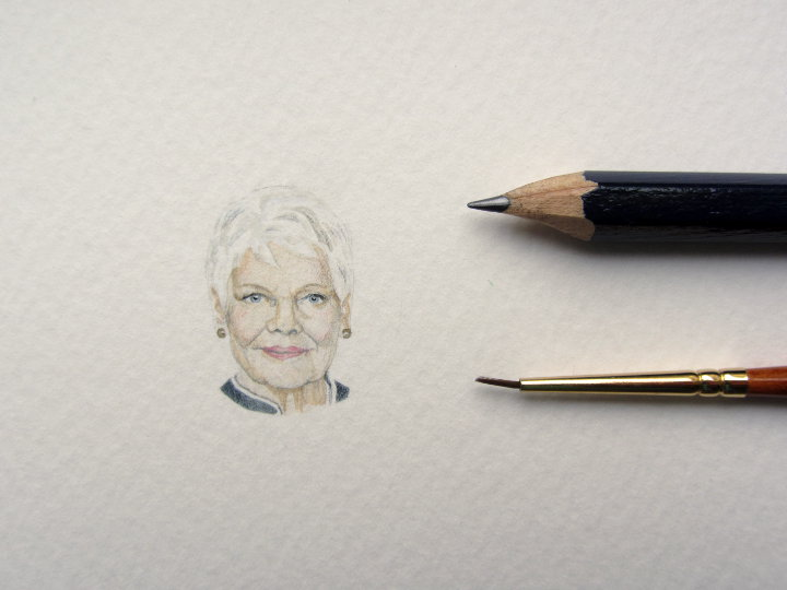 miniature watercolour portrait of Judi Dench