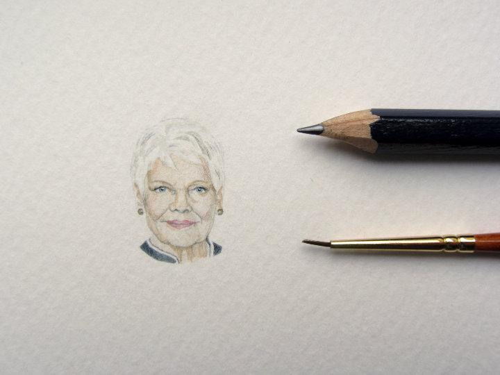 miniature watercolour portrait of Judi Dench