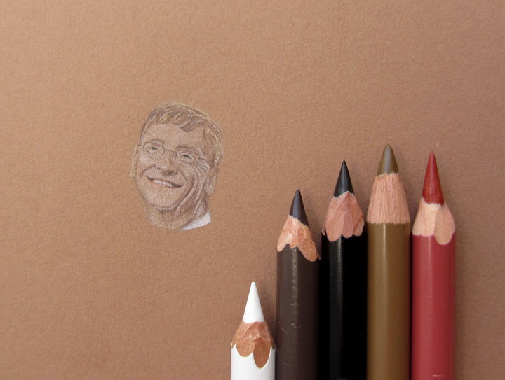 coloured pencil portrait of Bill Gates