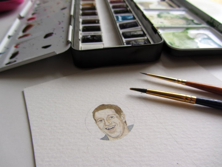 Mark Zuckerberg watercolour portrait