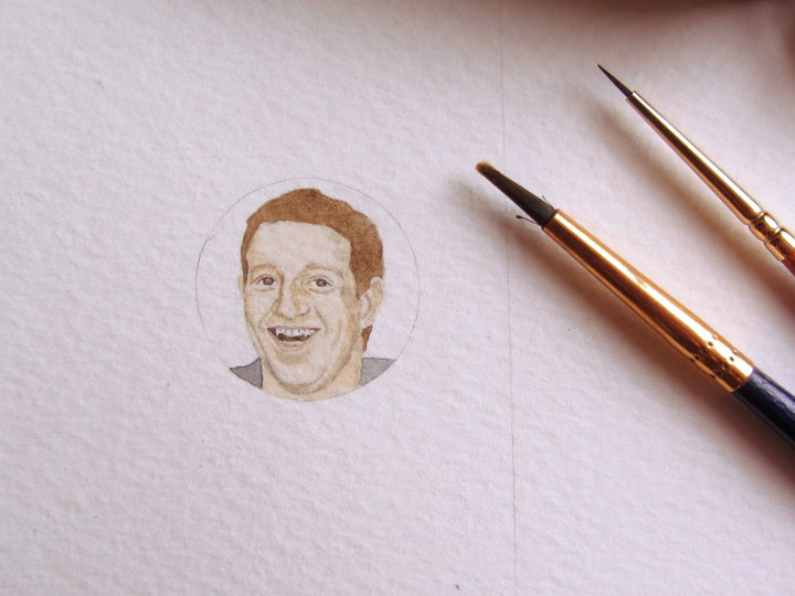 Mark Zuckerberg watercolour portrait