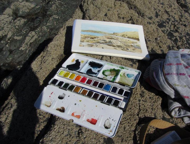 watercolour seascape painting