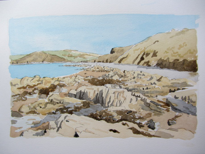 watercolour seascape painting