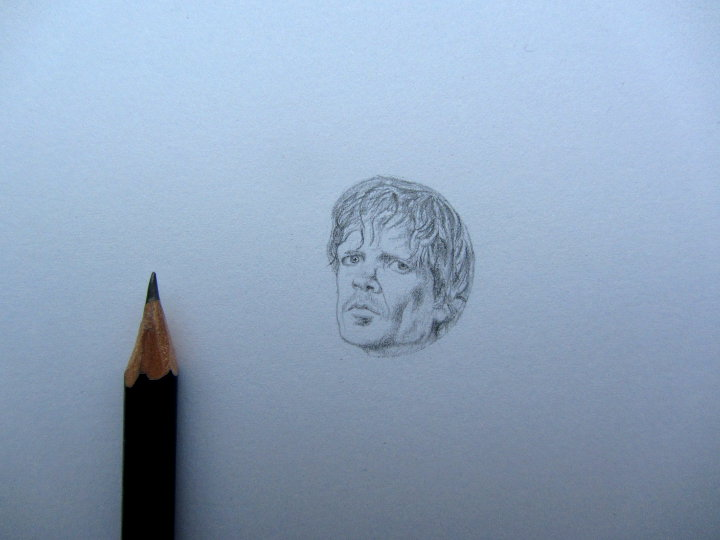 pencil drawing of Tyrion Lannister