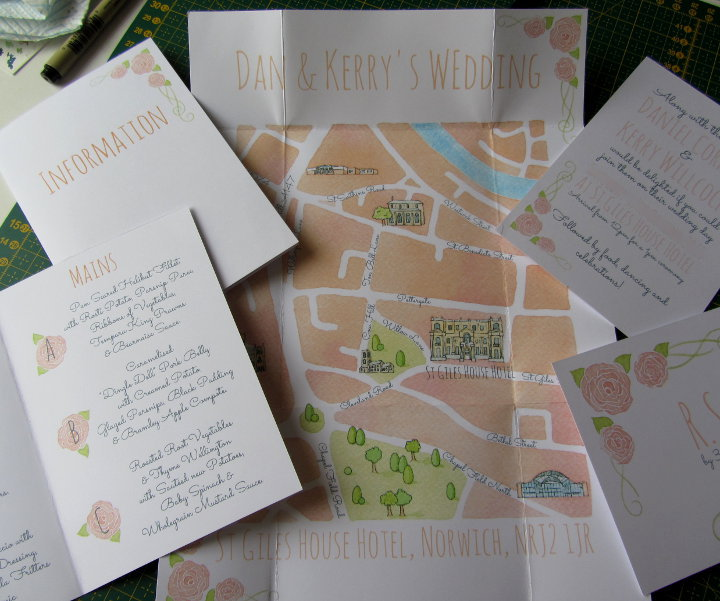 Illustrated wedding invitations