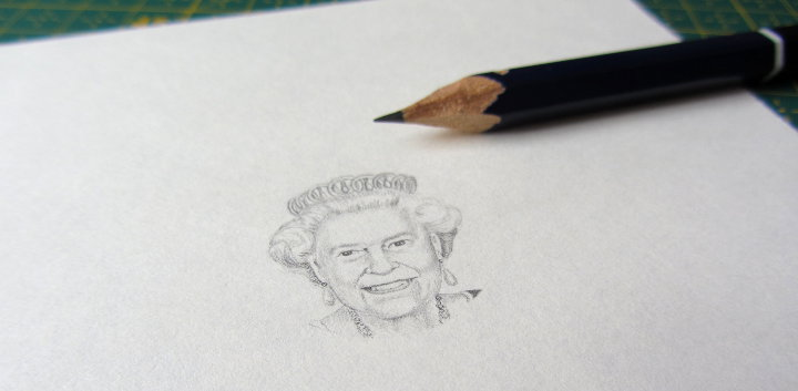 miniature pencil portrait of the queen