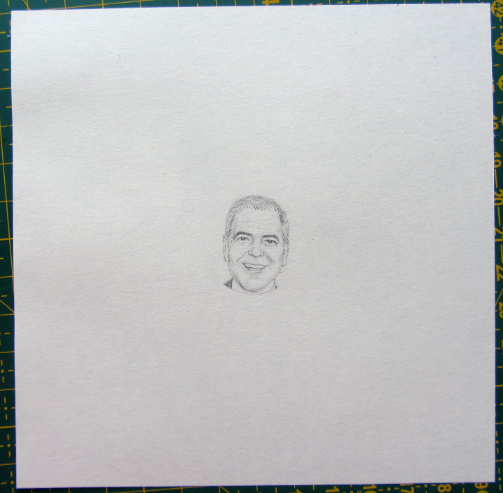 miniature portrait of george clooney