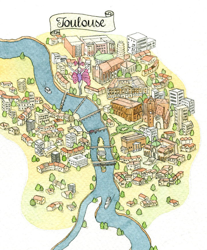 illustrated map of toulouse