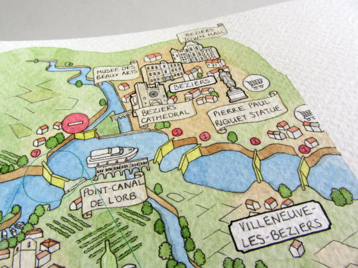 Illustrated map of the Canal du Midi