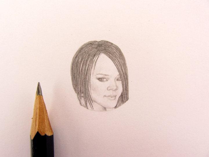 miniature pencil portrait of rhianna