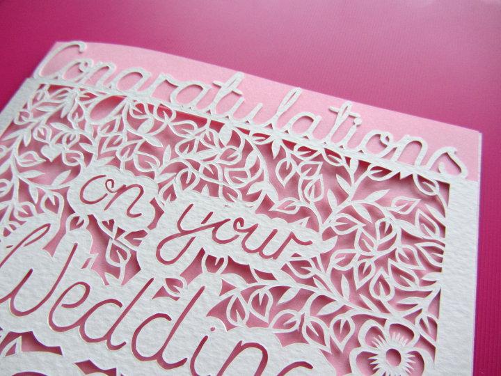 paper cut wedding card