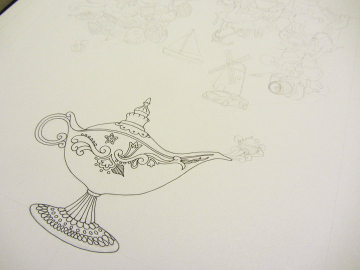 genie lamp adult colouring page