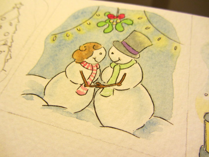 watercolour christmas card designs