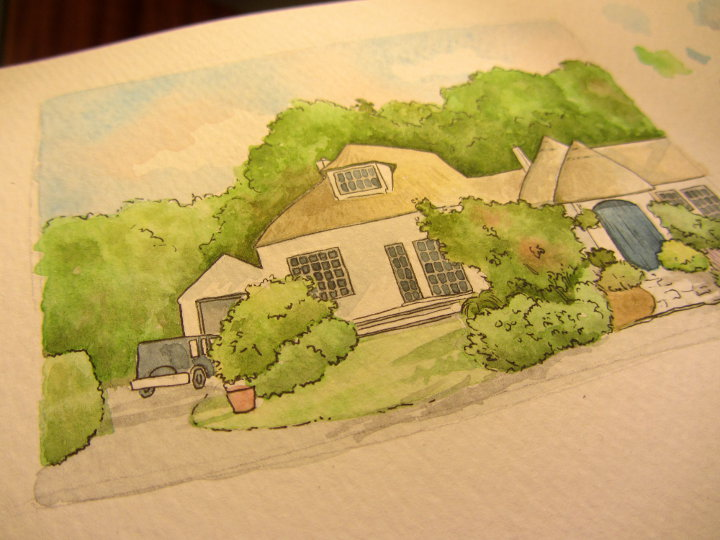watercolour house commission