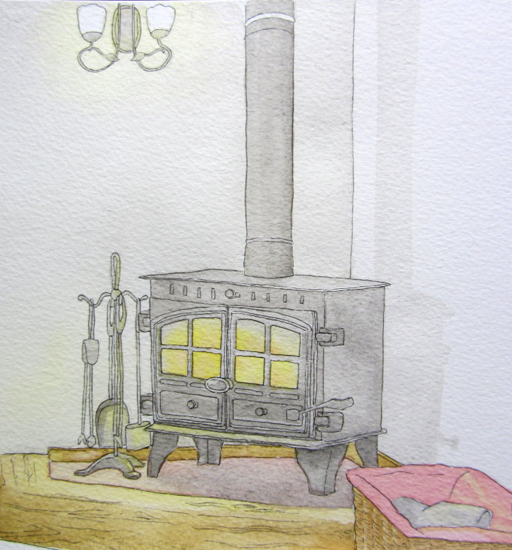 Watercolour painting of a woodburner