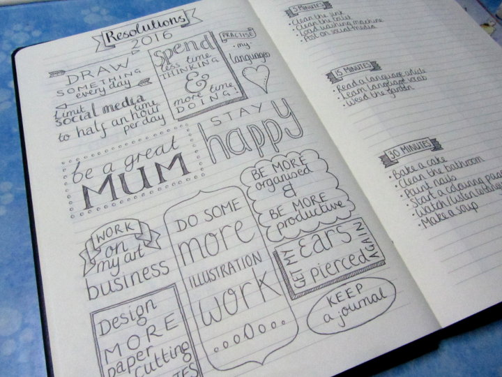bullet journal - new year's resolutions