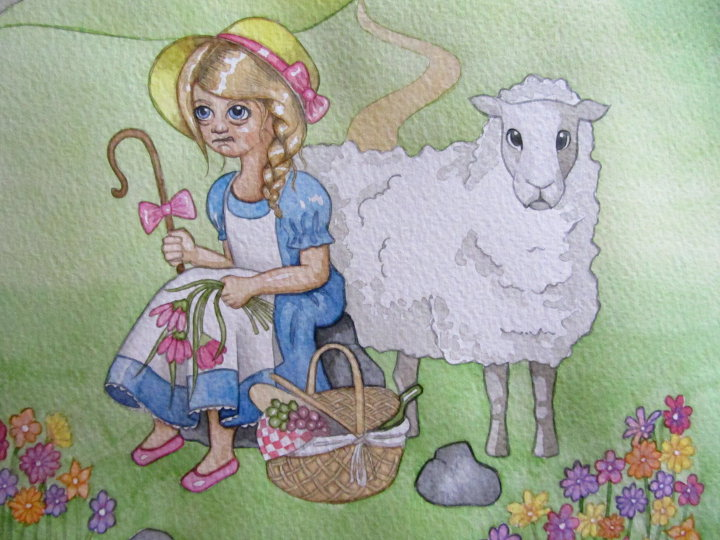 Mary had a little lamb illustration