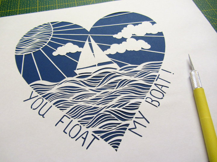 Valentine's day paper cut template