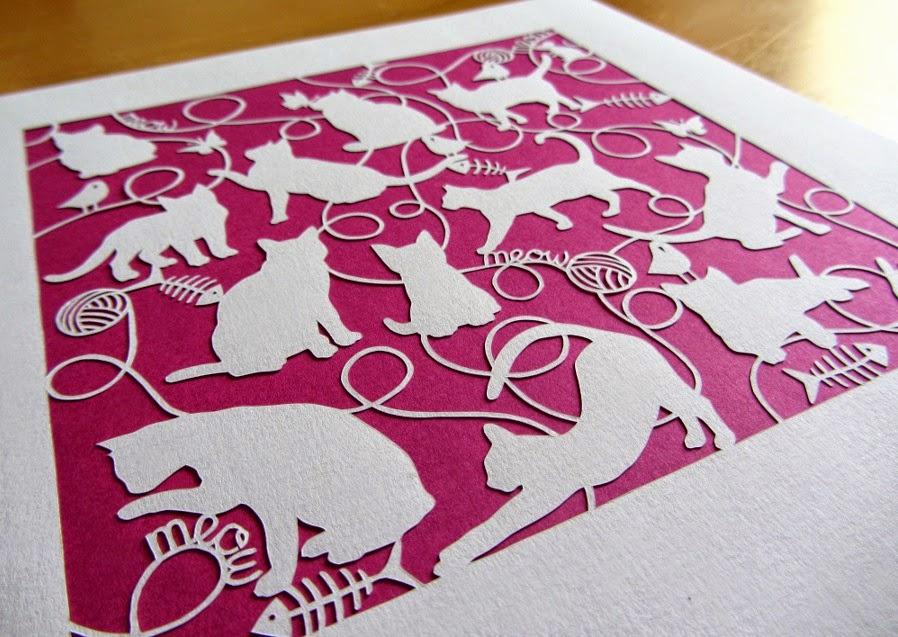 cat paper cut design