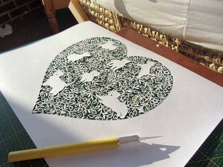 paper cut heart commission