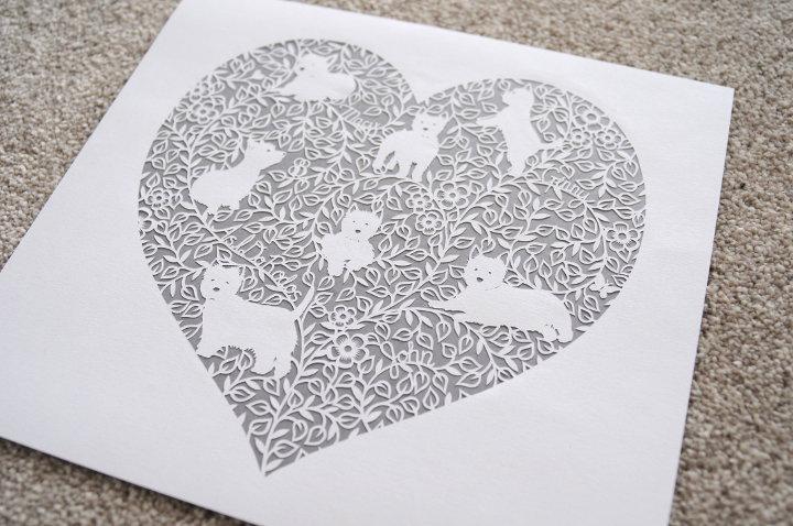 Westie paper cut heart