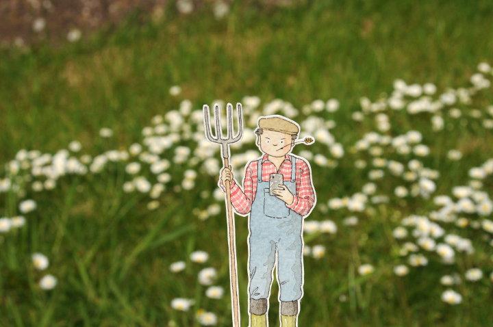 farmer watercolour illustration
