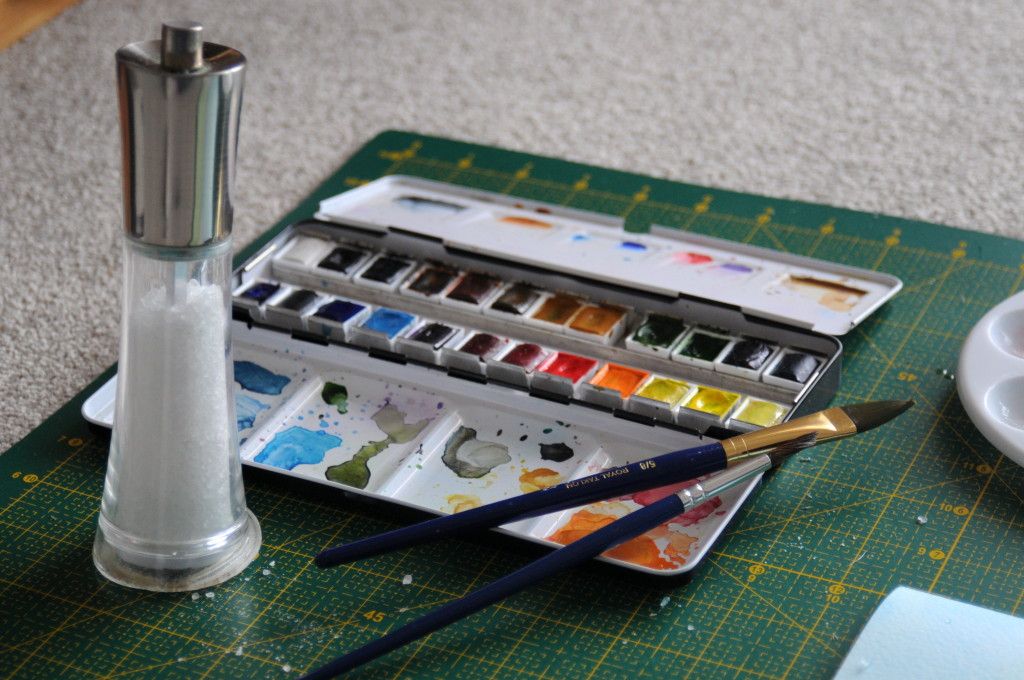 watercolours and salt