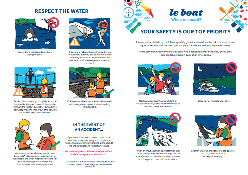 safety poster or leaflet illustrations