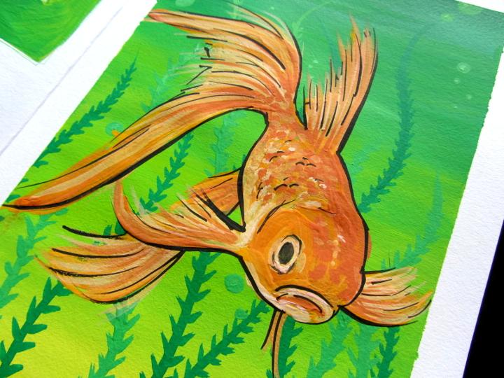 Gouache Goldfish
