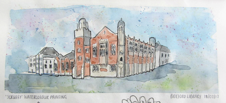 Bideford library architectural watercolour