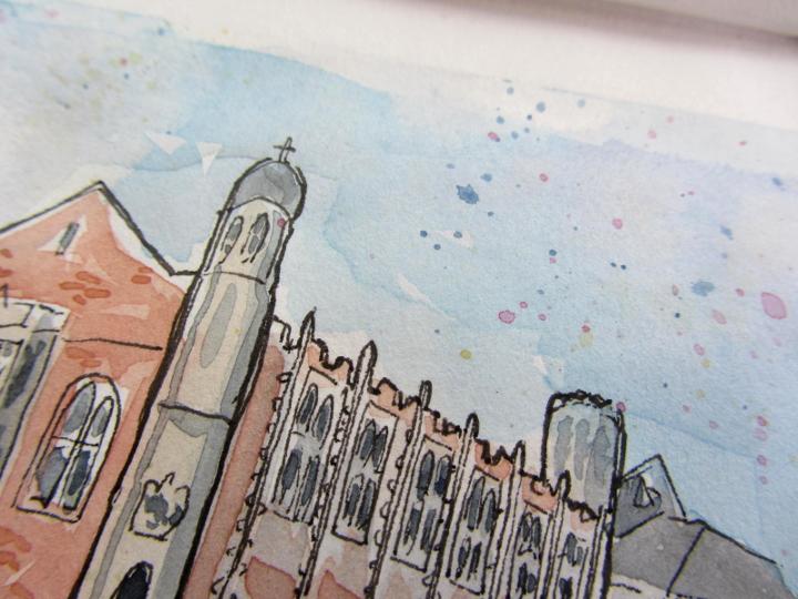 Bideford Library architectural watercolour
