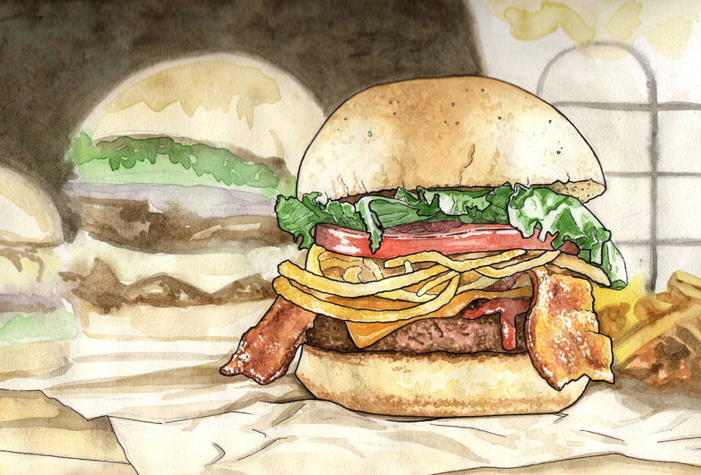 food illustration - burger