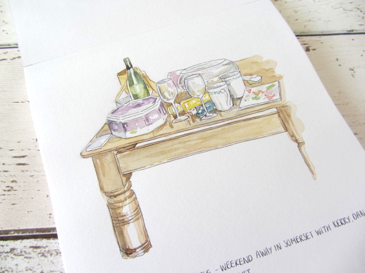 coffee table watercolour sketch