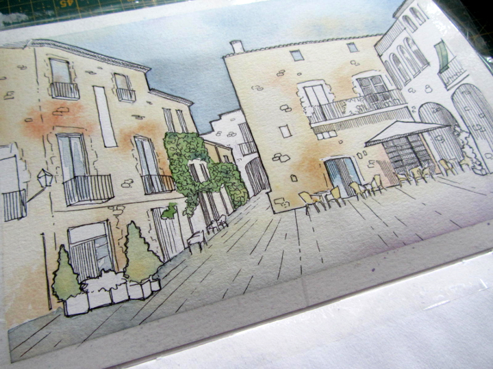 urban sketching watercolour peratallada