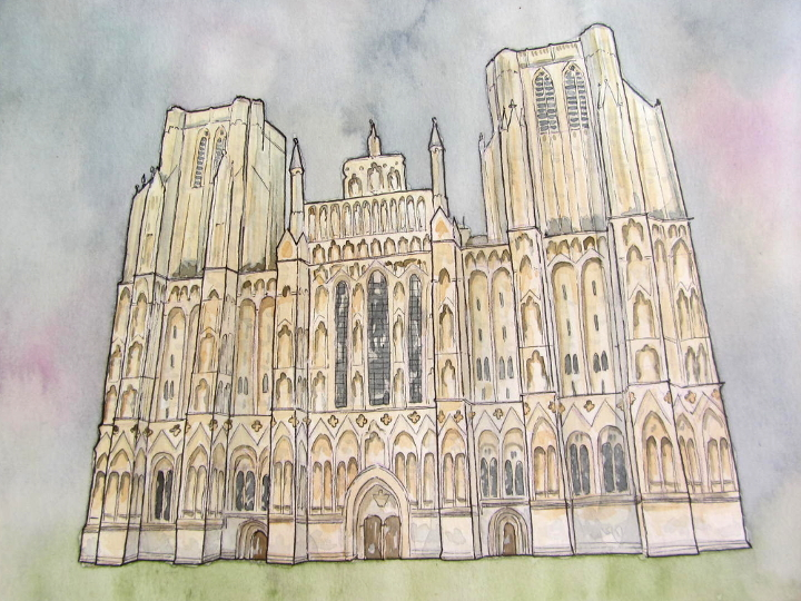 Wells Cathedral architectural illustration
