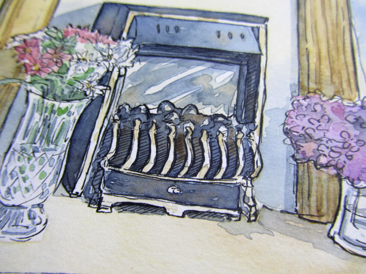 Pen ink and watercolour fireplace