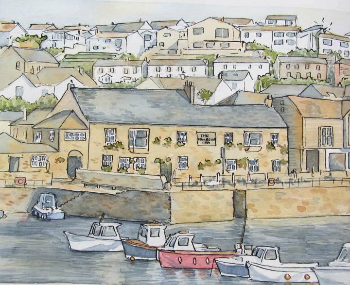 The Harbour Inn, Porthleven - watercolour