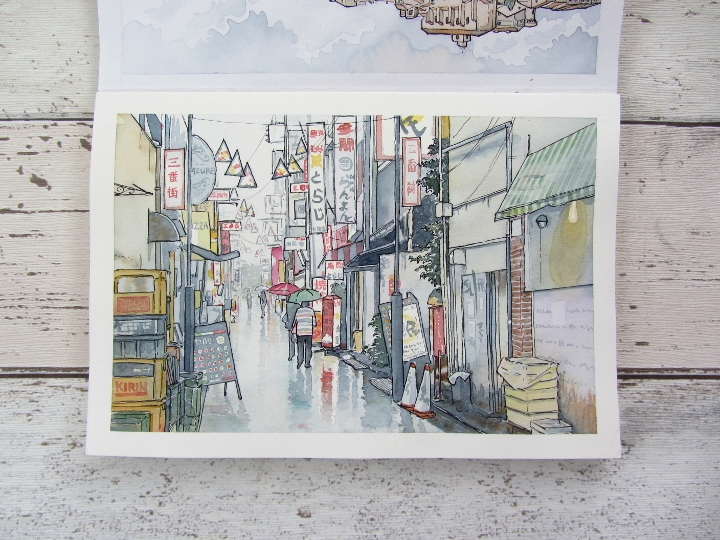 Japan street in the rain watercolour