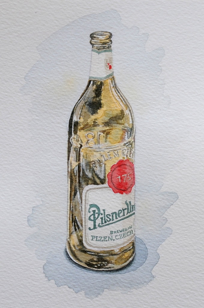 Food illustration, watercolour beer bottle by illustrator Clare Willcocks