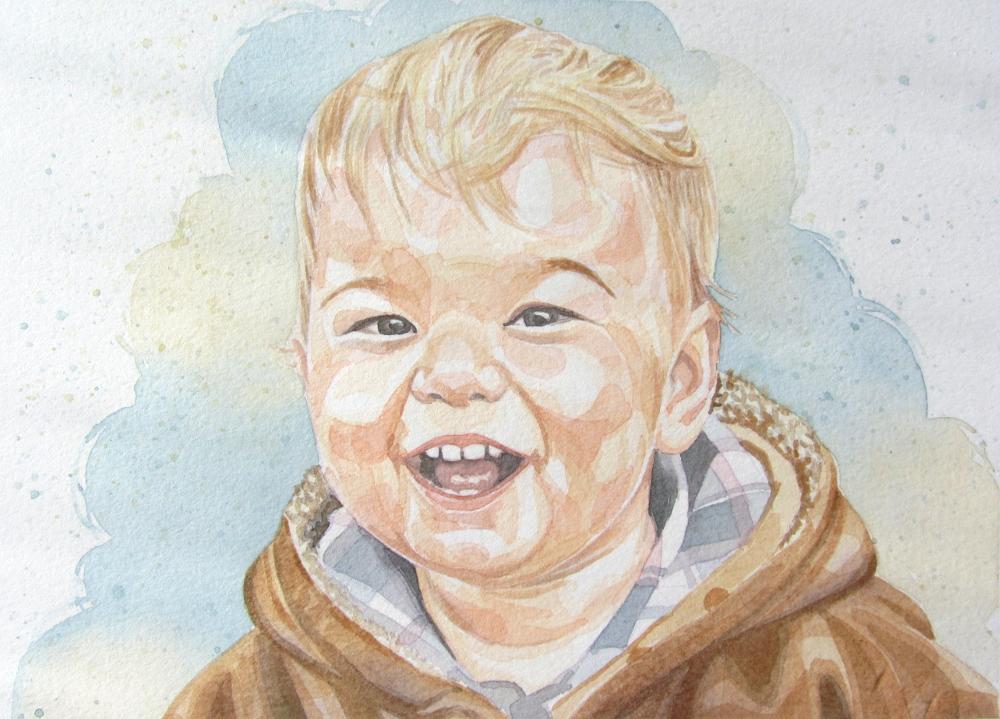 Watercolour portrait of a toddler child