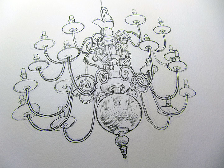 Chandelier pen and ink