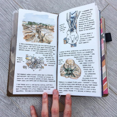 Midori travelers notebook with watercolour illustrations of some pebbles, a lock and a buddha ornament