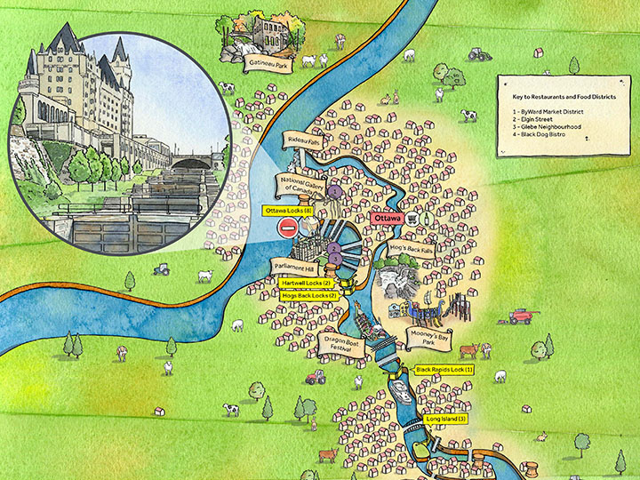 Rideau Canal illustrated map